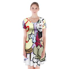 Bunny Easter Artist Spring Cartoon Short Sleeve V Neck Flare Dress