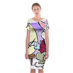 Bunny Easter Artist Spring Cartoon Classic Short Sleeve Midi Dress