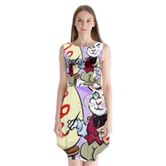 Bunny Easter Artist Spring Cartoon Sleeveless Chiffon Dress