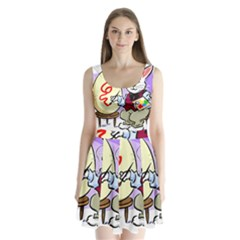 Bunny Easter Artist Spring Cartoon Split Back Mini Dress