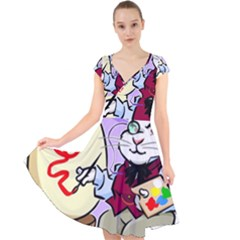 Bunny Easter Artist Spring Cartoon Cap Sleeve Front Wrap Midi Dress