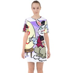 Bunny Easter Artist Spring Cartoon Sixties Short Sleeve Mini Dress