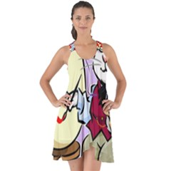 Bunny Easter Artist Spring Cartoon Show Some Back Chiffon Dress