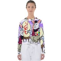 Bunny Easter Artist Spring Cartoon Women s Slouchy Sweat