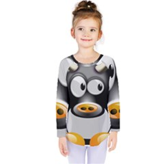 Cow Animal Mammal Cute Tux Kids  Long Sleeve Tee