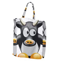 Cow Animal Mammal Cute Tux Giant Grocery Zipper Tote