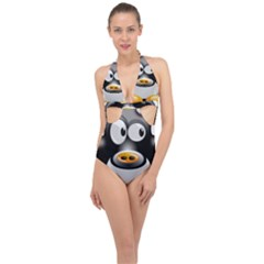 Cow Animal Mammal Cute Tux Halter Front Plunge Swimsuit