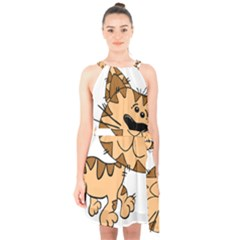 Cats Kittens Animal Cartoon Moving Halter Collar Waist Tie Chiffon Dress