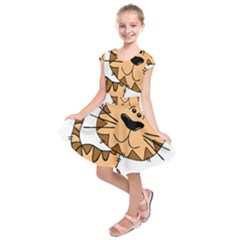Cats Kittens Animal Cartoon Moving Kids  Short Sleeve Dress