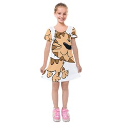Cats Kittens Animal Cartoon Moving Kids  Short Sleeve Velvet Dress