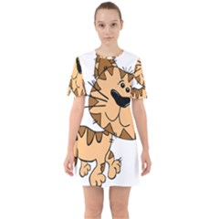Cats Kittens Animal Cartoon Moving Sixties Short Sleeve Mini Dress