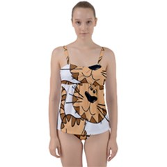 Cats Kittens Animal Cartoon Moving Twist Front Tankini Set