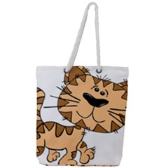 Cats Kittens Animal Cartoon Moving Full Print Rope Handle Tote (large)