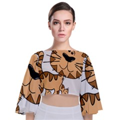 Cats Kittens Animal Cartoon Moving Tie Back Butterfly Sleeve Chiffon Top