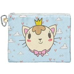 Cat Cloud Heart Texture Kitten Canvas Cosmetic Bag (xxl) by Simbadda