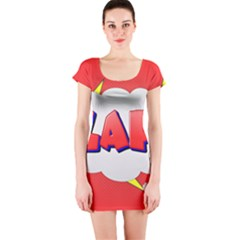 Comic Bubble Popart Cartoon Action Short Sleeve Bodycon Dress by Simbadda