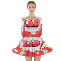Comic Bubble Popart Cartoon Action Long Sleeve Skater Dress by Simbadda