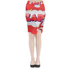 Comic Bubble Popart Cartoon Action Midi Wrap Pencil Skirt