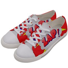 Comic Bubble Popart Cartoon Action Women s Low Top Canvas Sneakers by Simbadda
