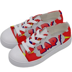 Comic Bubble Popart Cartoon Action Kids  Low Top Canvas Sneakers by Simbadda