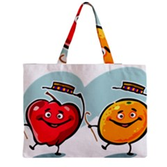 Dancing Fruit Apple Organic Fruit Zipper Medium Tote Bag by Simbadda
