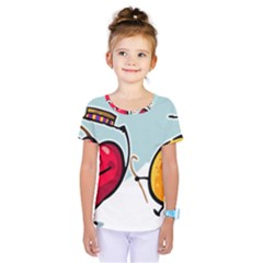 Dancing Fruit Apple Organic Fruit Kids  One Piece Tee by Simbadda