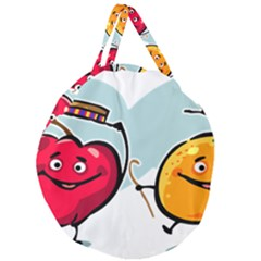 Dancing Fruit Apple Organic Fruit Giant Round Zipper Tote by Simbadda