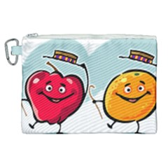 Dancing Fruit Apple Organic Fruit Canvas Cosmetic Bag (xl)