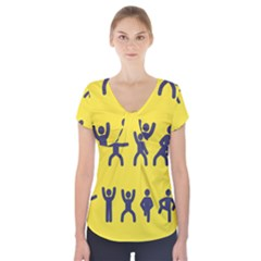 Gymnast Stick Man Man Stick Short Sleeve Front Detail Top