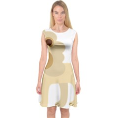 Lion Cute Sketch Funny Capsleeve Midi Dress