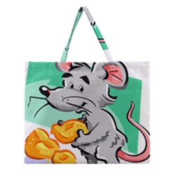 Mouse Cheese Tail Rat Hole Zipper Large Tote Bag