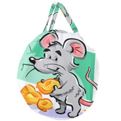Mouse Cheese Tail Rat Hole Giant Round Zipper Tote