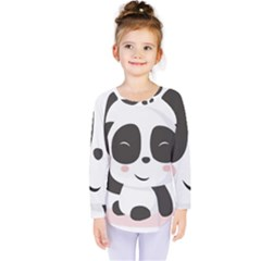 Panda Bear Funny Cute Kids  Long Sleeve Tee