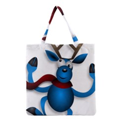 Reindeer Dancing Blue Christmas Grocery Tote Bag