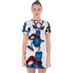 Reindeer Dancing Blue Christmas Drop Hem Mini Chiffon Dress by Simbadda