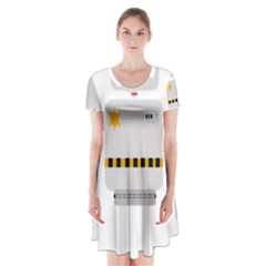 Robot Technology Robotic Animation Short Sleeve V Neck Flare Dress