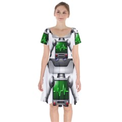 Robot Short Sleeve Bardot Dress