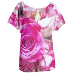 Rose Watercolour Bywhacky Women s Oversized Tee