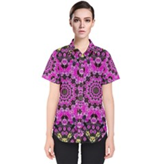 Namaste Decorative Flower Pattern Of Floral Women s Short Sleeve Shirt
