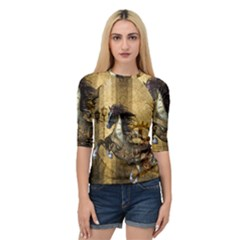 Awesome Steampunk Horse, Clocks And Gears In Golden Colors Quarter Sleeve Raglan Tee by FantasyWorld7