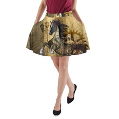 Awesome Steampunk Horse, Clocks And Gears In Golden Colors A Line Pocket Skirt by FantasyWorld7