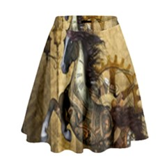 Awesome Steampunk Horse, Clocks And Gears In Golden Colors High Waist Skirt by FantasyWorld7