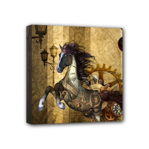 Awesome Steampunk Horse, Clocks And Gears In Golden Colors Mini Canvas 4  X 4  by FantasyWorld7