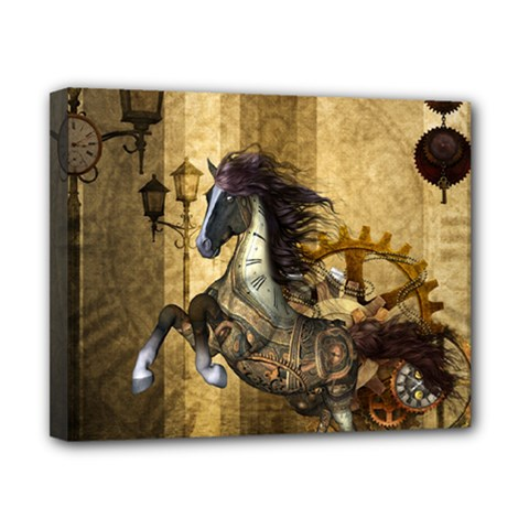 Awesome Steampunk Horse, Clocks And Gears In Golden Colors Canvas 10  X 8  by FantasyWorld7