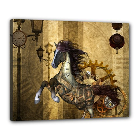 Awesome Steampunk Horse, Clocks And Gears In Golden Colors Canvas 20  X 16  by FantasyWorld7