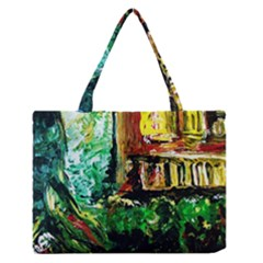 Old Tree And House With An Arch 5 Zipper Medium Tote Bag by bestdesignintheworld