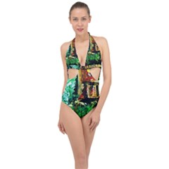 Old Tree And House With An Arch 5 Halter Front Plunge Swimsuit