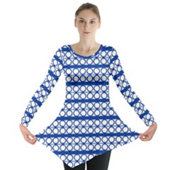 Circles Lines Blue White Pattern  Long Sleeve Tunic  by BrightVibesDesign