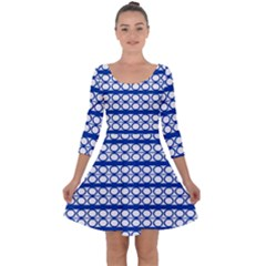 Circles Lines Blue White Pattern  Quarter Sleeve Skater Dress by BrightVibesDesign