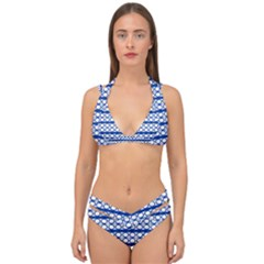 Circles Lines Blue White Pattern  Double Strap Halter Bikini Set by BrightVibesDesign